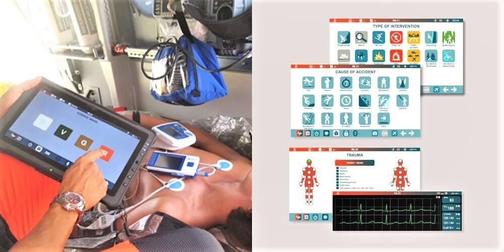 Foto di un infermiere in ambulanza mentre utilizza Zulu .E per monitorare lo stato di salute di un finto paziente a bordo